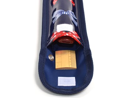 School Assistant recorder & ruler case polka dots and stripes French Ribbon (Navy) made in Japan N4226800