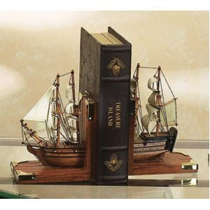 Sailing Ships Nautical Book Ends by Asher Home Decorators