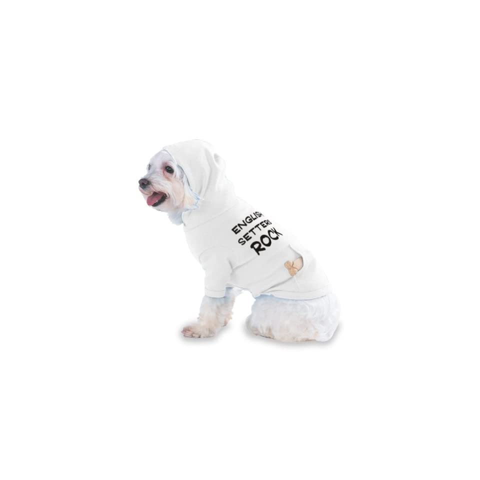 English Setters Rock Hooded T Shirt for Dog or Cat Small White
