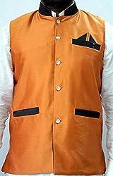 Nuvo Rise Export Men's Nehru Jacket_123465_Orange_M