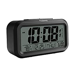 Peakeep Digital Dual Alarm Clock with Snooze and Nightlight, Battery Operated for Travel