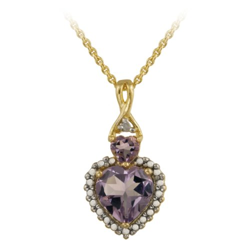 18k Gold Plated Silver Diamond-Accent Amethyst Heart Pendant Necklace , 18