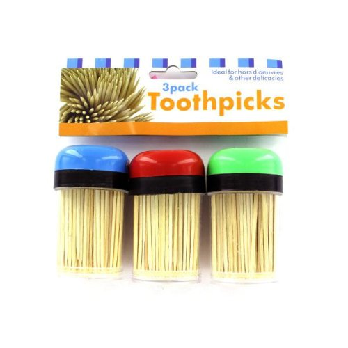 Toothpick Holders & Toothpicks 72 Packs of 3