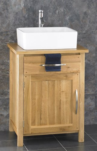 Ohio Solid Oak Single Door 60cm x 50cm Bathroom Cabinet With Trieste Rectangular Basin and Tap Set