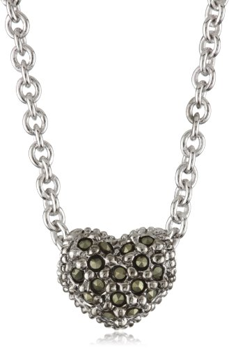 Judith Jack Sterling Silver Marcasite and Crystal Pave Reversible Mini Heart Pentant Necklace, 16
