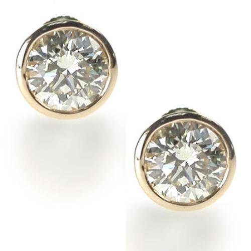 Clear 8CT TW C.Z. Bezel Set (.925) Sterling Silver Vermeil Plated Earring Studs (Nice Holiday Gift, Special Black Firday Sale)
