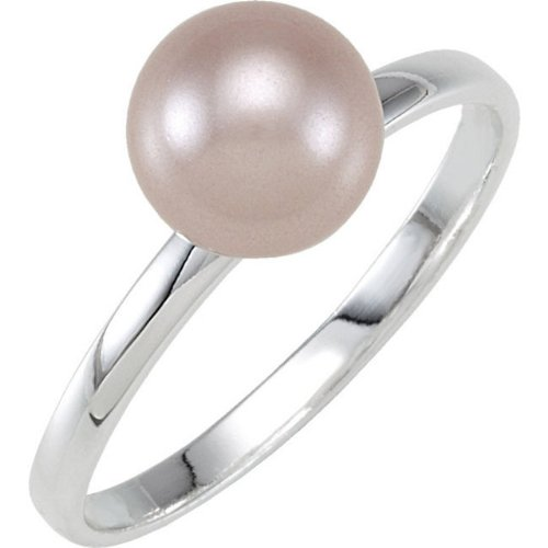 Sterling Silver Stackable Fashion Ring 8 mm Pink Glass Pearl- Size 7