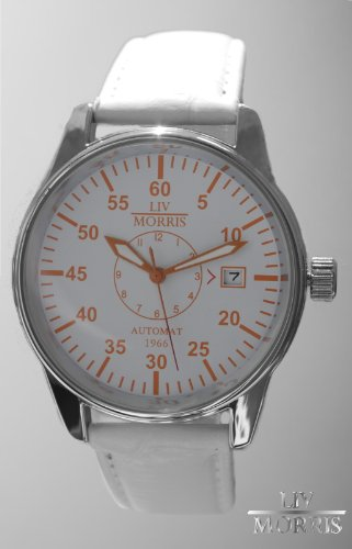 LIV MORRIS Automatik Herrenuhr 1966 LISSABON, mechanische Armbanduhr, SeaGull Uhrwerk, automatischer Aufzug, Edelstahl-Glasboden, lumineszierende Zeiger, weiss/orangenes Zifferblatt, Lederarmband, von LIV MORRIS
