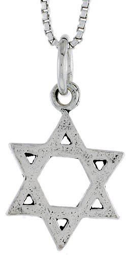 Sterling Silver Star of David Pendant, 5/8 inch tall