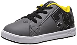 DC Court Graffik Elastic UL Shoes Skate Shoe (Toddler), Grey/Black/Yellow, 10 M US Toddler