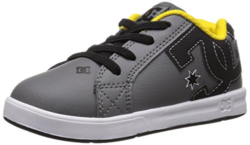 DC Court Graffik Elastic UL Shoes Skate Shoe (Toddler), Grey/Black/Yellow, 10 M US Toddler