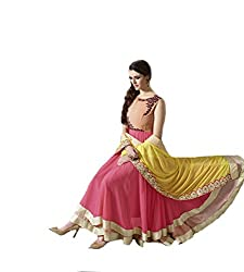 Fashionable Pink Colored Anarkali Suit