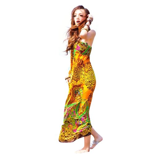 Hee Grand Floral Graphic Print Beaded Halter Smocked Bodice Long / Maxi Dress front-107304
