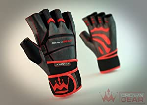 Weightlifting Gloves for Gym Fitness Crossfit Bodybuilding - Workout Gloves for Men & Women - Dominator Leather Crossfit Cross Training Gloves W. Wrist Strap Wrap - Best Weight Lifting Gloves with Wrist Support for Heavy Lifting - Satisfaction Guaranteed