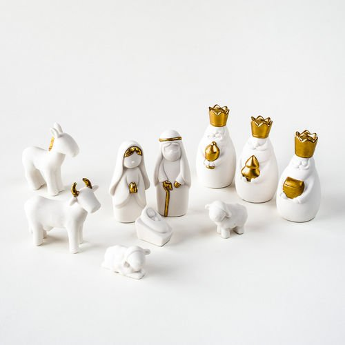 White gold christmas nativity set with wise men for 180 degrees christmas decoration