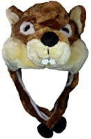 Critter Cap Plush Animal Hat with Ear Flaps That Button Under the Chin