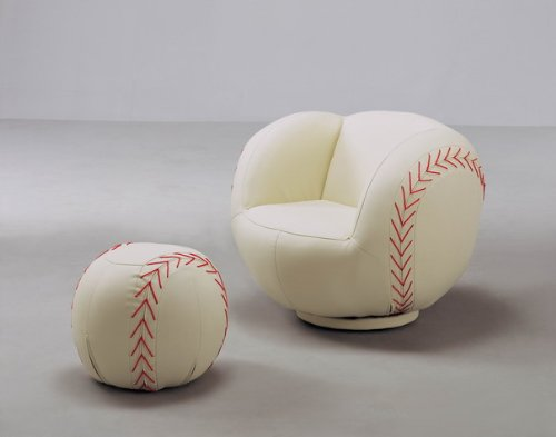 2 PC Baseball Chair and Ottoman Set