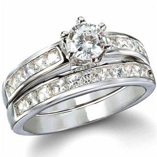 Ginnifer's Traditional Imitation CZ Engagement Ring Set - 8