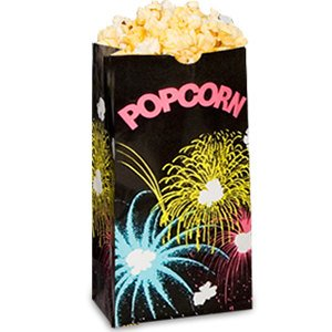 "Bagcraft Papercon 300448 Theater Popcorn Bag With Black Funburst Design, 46 Oz Capacity, 8-1/4"" Length X 4-1/4"" Width X 2-1/2"" Height (Case Of 1000)"