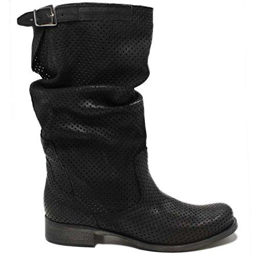 Stivali Biker Boots Metà Polpaccio Donna In Time 0124 Traforati Estivi Nero in Vera Pelle Made in Italy