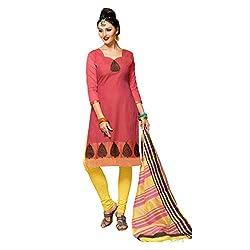 Resham Fabrics Pink Banarsi Silk Dress Material