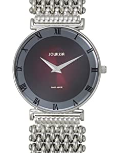 Jowissa Women's J2.072.L Roma Stainless Steel Maroon Dial Roman Numeral Watch