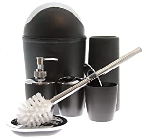 Justnile 6 piece bathroom accessory set for Black and silver bathroom sets