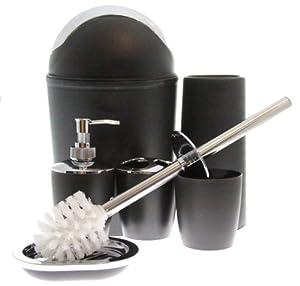 Justnile 6 piece bathroom accessory set for Black and silver bathroom accessories