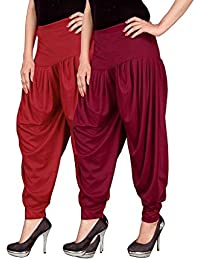 Navyataa Women's Lycra Dhoti Pants For Women Patiyala Dhoti Lycra Salwar Free Size (Pack Of 2) Red & Maroon