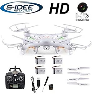 s-idee 01541 Quadrocopter X5C + 4 Akkus Forscher Syma X5C HD Kamera mit Tonaufzeichnung mit Motor-STOPP-Funktion & Akku-Warner, 360° Flip Funktion, Nachfolger vom Syma X5, 2.4 GHz, 4-Kanal, 6-AXIS Stabilization System (weiss)