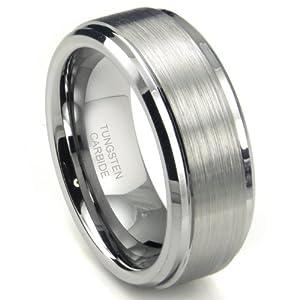 8MM High Polish / Matte Finish Men's Tungsten Ring Wedding Band Sz 9.0
