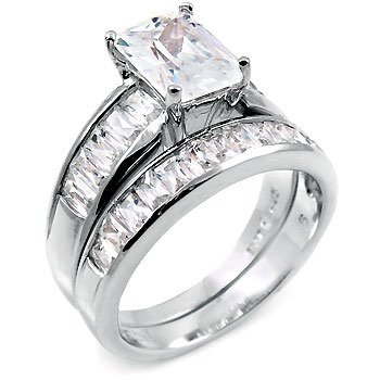 bridal ring sets sterling silver cubic zirconia cz wedding engagement