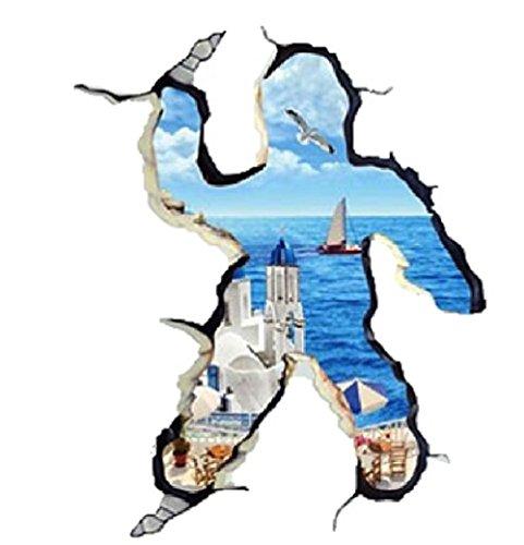 LGTM トリックアート3D 人&壁 ウォールステッカー ポスター おもしろ 雑貨 シール 北欧 はがせる 壁紙 壁シール おしゃれ 70×100cm