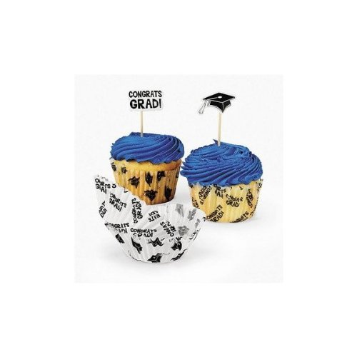 Graduation Baking Cups With Picks - Party Decorations & Cake Decorating Supplies