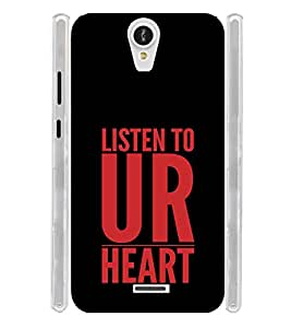 Listen to Your Heart Soft Silicon Rubberized Back Case Cover for Xolo Q600 Club