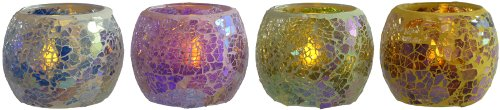 Mosaic Glass Tealight Candle Holders With Led Tealights. Set Of 4 Glass Candleholders. By Lily'S Home