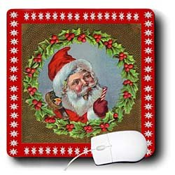 Sandy Mertens Vintage Christmas Designs - Vintage Santa in Wreath Cameo - Mouse Pads