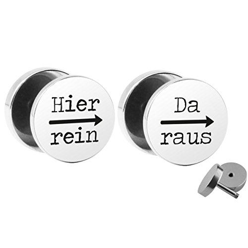 """SET """"dentro e fuori - perché qui"""" per orecchini (fake plugs) - viti di diametro 10 mm - acciaio chirurgico falso Tunnel orecchio argento orecchini in acciaio - Tunnel Fake plug"""