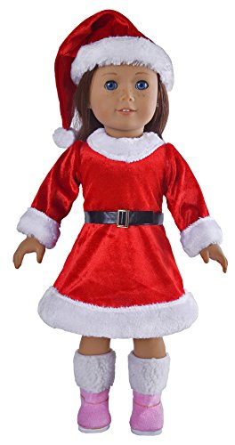 Ebuddy 3pc Christmas Hat Dresses Waistband Removing Stockings Fits 18 Inch Girl Dolls - 1