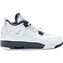 Jordan Kid\'s Air 4 Retro BG, WHITE/LEGEND BLUE-MIDNGHT NAVY, Youth Size 3.5