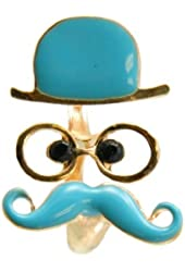 Vintage Moustache Face Book Ring Two Finger Ring,Mr.Moustache Old Father Ring Open Ring