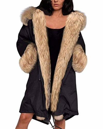 ZANZEA Donna Eco-pelliccia Cappotto staccabile Felpa con cappuccio Parka Giacca nero 44