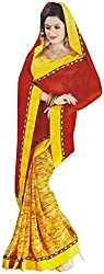 Kartik Ananya Women's Marble Chiffon Saree (Kartik Ananya 2010_1, Yellow)