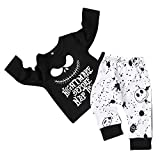 Toddler Baby Boy Clothes 2Pcs Outfit Set Nightmare Printing Long Sleeve and Skull Pants Clothing Set Kids Clothes (5T,130) Black (Color: Black, Tamaño: 4-5 T)