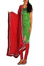 Unnati Silks Women green-red chanderi silk salwar kameez dress material