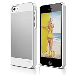elago S5 Outfit Morph Aluminum and Polycarbonate Dual Case for the iPhone 5C - eco friendly Retail Packaging (White / Silver)