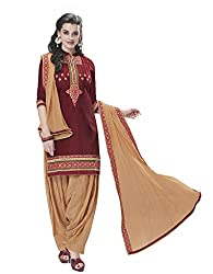 Kvsfab Maroon & Brown Pure Cotton Cambric Embroiderd Patiala Dress Material