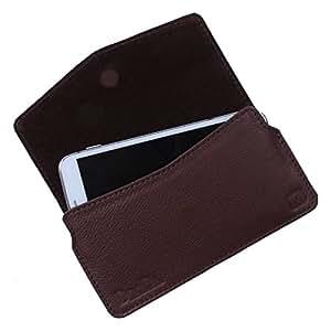 Dooda Genuine Leather Pouch Case For Maxx GenxDroid7 AX506 (BROWN)