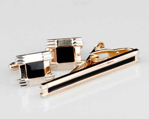 Lodestar Golden Nebula Boxer-Style Cufflink & Tieclip Set with Gift Box (B-07)