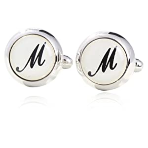 Initial M Printed Cufflinks 18K Platinum Plated Gift Boxed By Digabi